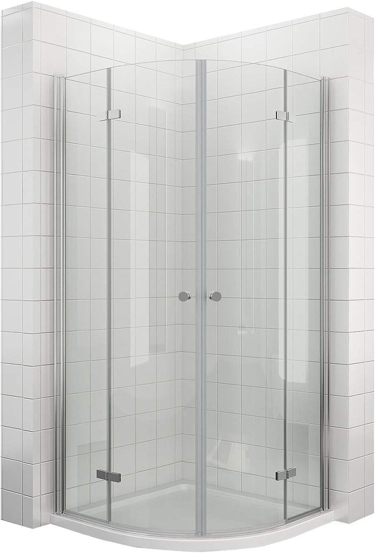 Falttür Duschkabine Runddusche 80x80cm eckeinstieg Duschabtrennung ESG Glas Viertelkreis
