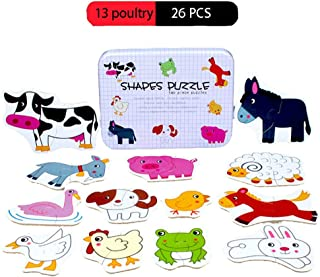 Little Bado Farm Animals Puzzles for Toddlers 1 2 3 Years Old Boy Farm Animal Jigsaw Puzzle in a Box for Boys Wood Farm Set Toy Farm Jigsaw Puzzle Wood Farm Animal Puzzle for Kids Ages 4-8