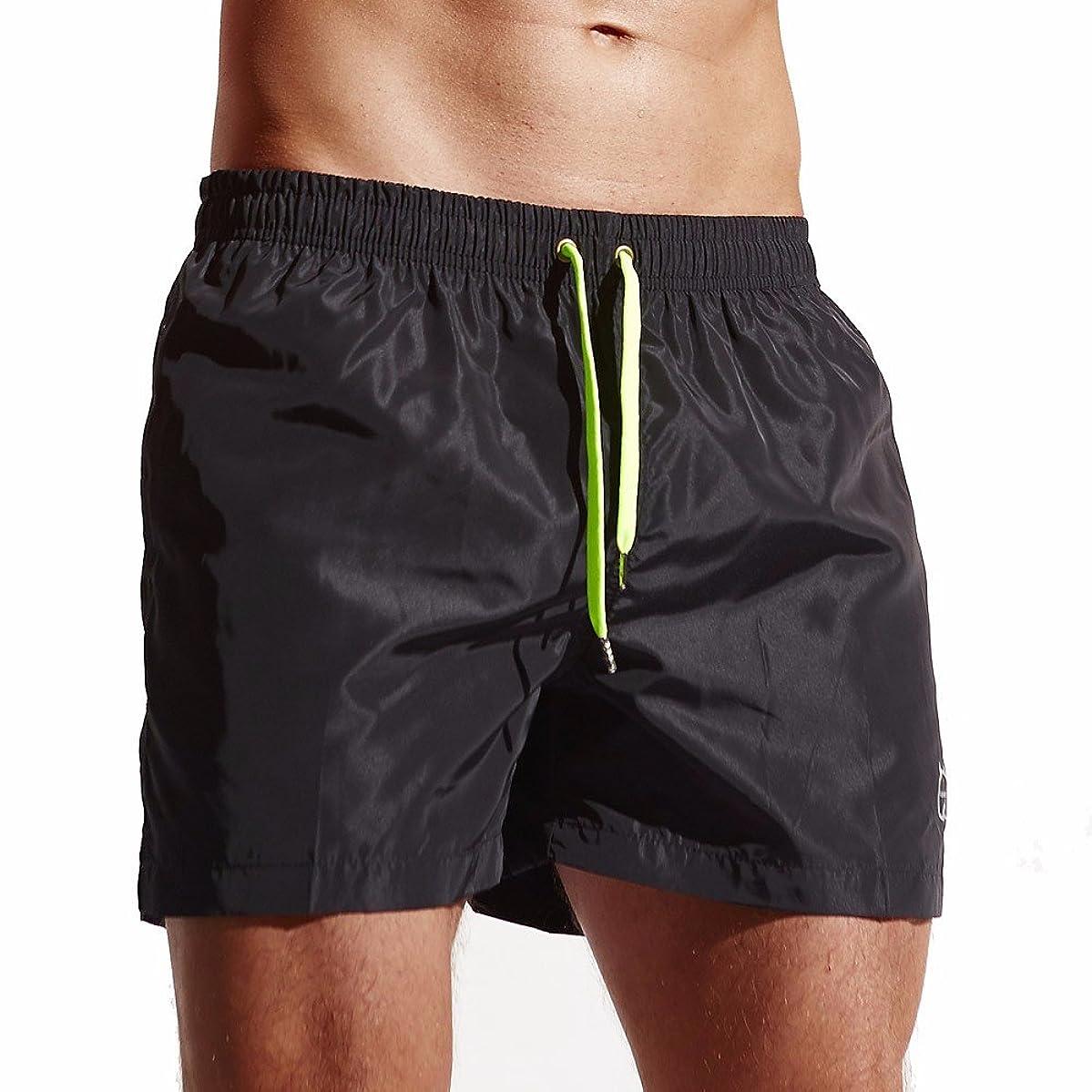 haoricu Men Beach Shorts Quick Dry Swim Trunk Pants Pockets Surfing Swimming Watershort