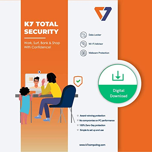 K7 Total Security - 1 PC's, 1 Year (Email Delivery in 2 hours - No CD) 1