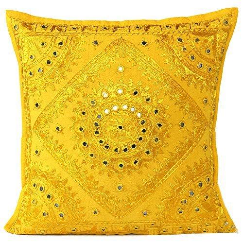 Radhy Krishna Fashions indiano–40,6cm giallo specchio ricamato decorativo divano cuscino boho Boemia