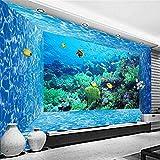 Fotomurales Autoadhesivo Para Nino 350 * 256Cm Arrecife De Peces Azul Coral Mundo Submarino Papel Pintado Decoración De Pared Murales Pegatina Adhesivos 3D Moderna Fotográfico Ninos