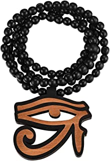 FaithHeart Egpytian Jewelry Eye of Horus Necklace, Wooden Beaded Sweater Chain Vintage Ankh Cross/African Map Pendant for Men and Women with Gift Packaging, Text Engrave Customizable