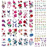 30 Sheets Temporary Tattoos Stickers Waterproof Body Art Tattoo Sexy Rose Flower Lotus Cherry Blossoms Butterflies for Women Teens Girls Kids 5 Sheets Nail Stickers (LIFE19)