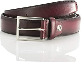 LINDENMANN men's leather belt/men's belt, full grain leather belt, burgundy, Farbe/Color:red, Size US/EU:Waist Size 35.5 L...