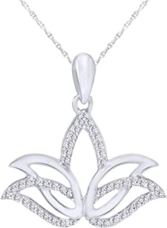1/10 CT Round Natural Diamond Outline Lotus Flower Pendant Necklace in 14K Gold Over Sterling Silver