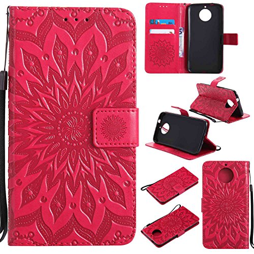 pinlu PU Leder Tasche Etui Schutzhülle für Motorola Moto G6 Plus Lederhülle Schale Flip Cover Tasche mit Standfunktion Sonnenblume Muster Hülle (Rot)
