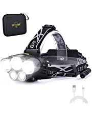LETOUR ヘッドライト LED CREE T6 5灯式 作業灯 超高輝度 3100ルーメン ヘルメット ライト IP65防水 6点灯モード USB充電式 角度調節可能 アウトドアライト 災害用品 登山 作業 夜釣り