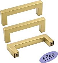 goldenwarm Brushed Brass Cabinet Handles Drawer Pulls and Knobs 5 Pack - LSJ12GD76 Stainless Steel 3 in Bar Handle Knob Pull Fine-Brushed Satin Gold Furniture Hardware