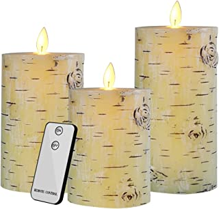 CREASHINE Flameless Candles Battery Operated Pillar Real Wax White Birch Flickering LED Candles 3 Set White Birch Moving W...