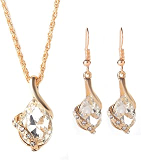 cec396cf5bd6 Orumlio Collar Colgante de Cristal Chapado en Oro Blanco para Mujeres  Chicas