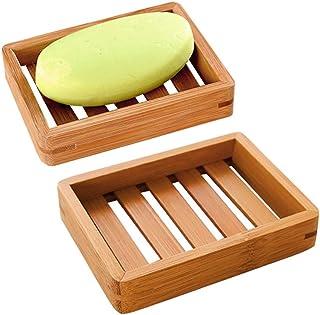 Mein HERZ 2-pack naturliga tvålskålar i bambu förvaringshållare, naturligt trä bambu tvålskål förvaringshållare tvålhållar...