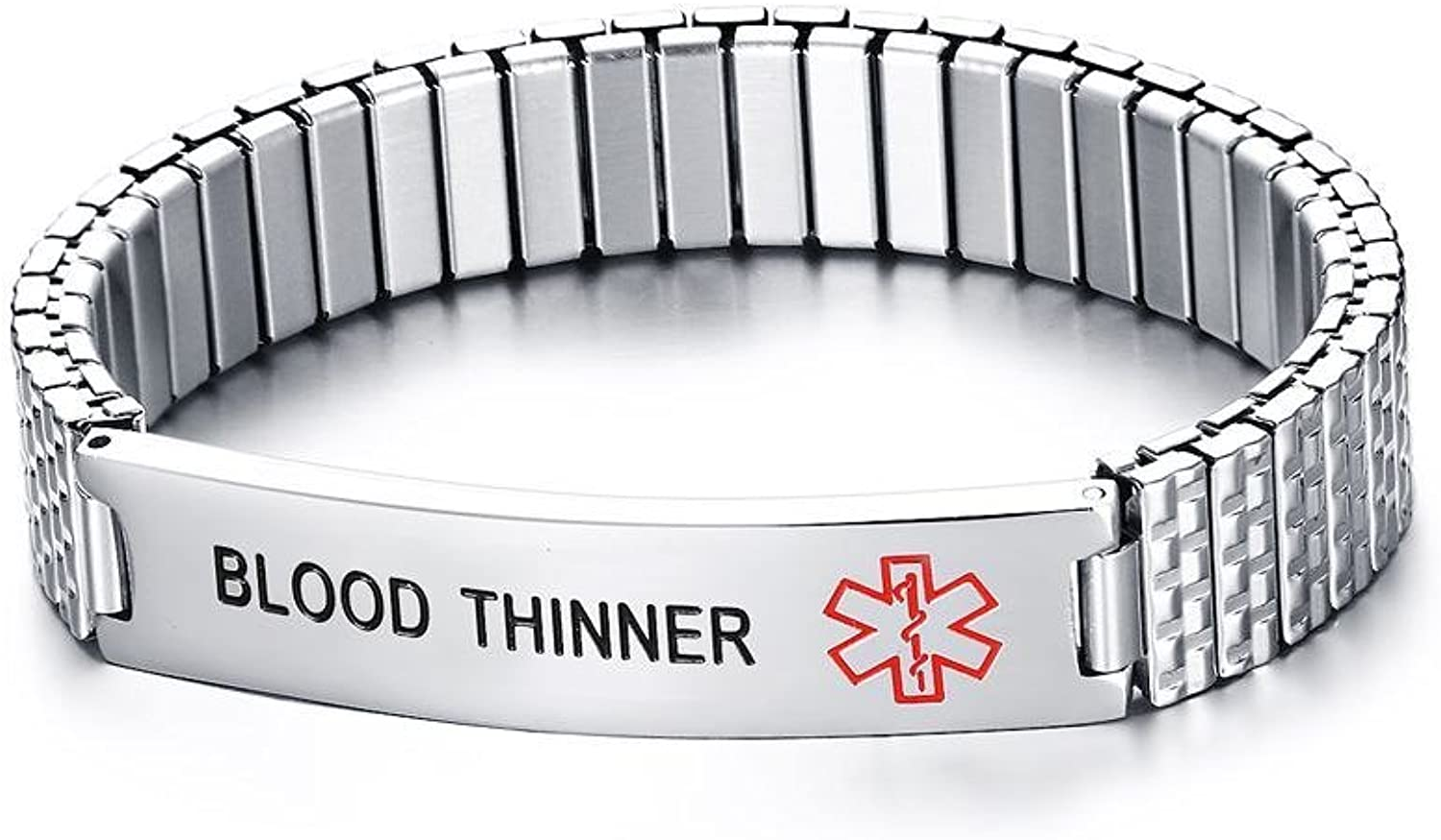 HUANIAN Free EngravingUnisex Stainless Steel Medical Alert ID Stretch Bracelet for Men and Women
