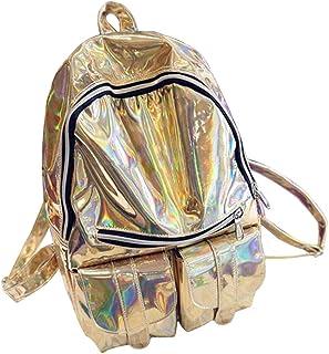 Women Hologram Backpack Shoulder Bag School Travel Backpack School Bag Very Convenient and Practical(Gold)