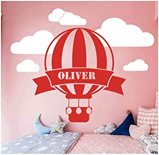wbqhai Wall Decoration for Home Custom Name Hot Air Balloon Sky Wall Decal Children Room Bedroom Decoration Stickers Muraux 42X33Cm