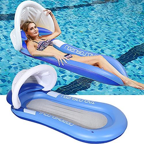 Colchoneta hinchable para piscina, juguete, hamaca, con red, para adultos, 150 x 90 cm, juego de agua, plegable, para piscina, silla de agua (azul)