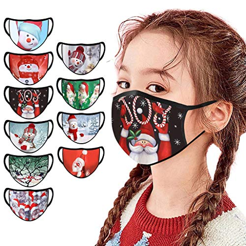 5/6/10PC Children Fashion Christmas Face Bandanas Washable Reusable Facewear for Kids Boy Girl Xmas Gifts (10PC)