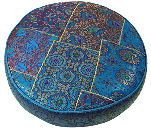 Guru-Shop Orientalisches Rundes Patchwork Kissen 50 cm, Sitzkissen, Bodenkissen mit Baumwollfüllung - Blau, Synthetisch, Zierkissen, Dekokissen, Sofakissen