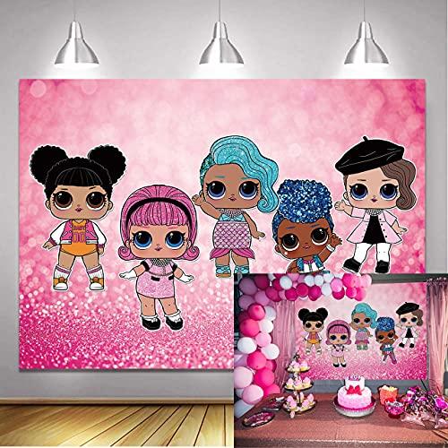 LXN Dibujos animados bebé niña muñeca telón de fondo rosa brillante lentejuelas fotografía fondo niña fiesta de cumpleaños baby shower postre mesa decoración fondo 6x4ft