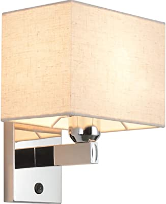 Wall Lamp Stainless Steel Wall Lamp Fabric Shade with Button Switch Indoor Wall Lights Fixtures
