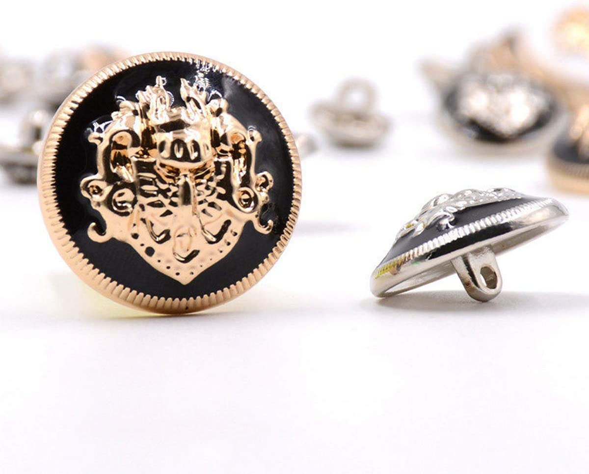 Silber-Schwarz 20Pcs 10-28mm Metallkn/öpfe f/ür Hemd-Jacken-Mantel-Dekor-Schnallen DIY N/ähen Kleidung Accessoires 10mmx20Pcs 10