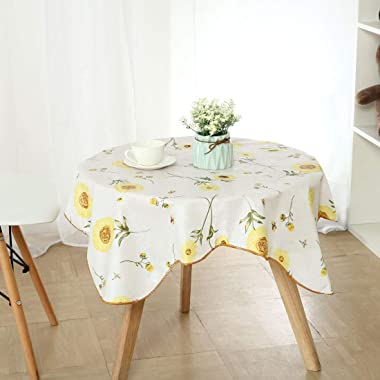 """uxcell Vinyl Plastic Tablecloth for Square Tables 35"""" x 35"""" Sunflower Printed, Wedding/Restaurant/Parties Tablecloth"""