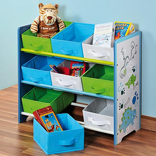 Kesper Estantería de almacenaje infantil, cajón multiusos, caja de madera, de madera de fibra placa, tamaño: 660x 595x 300mm, en color azul