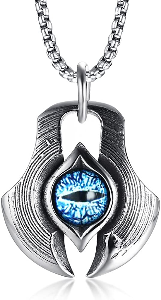 MPRAINBOW Men's Stainless Steel Greek Blue Dragon Evil Eye Axe Casting Dog Tag Pendant Amulet Necklace