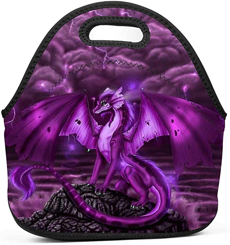 Purple Dragon In The Storm Lunch Bag Thick Insulated Lunch Tote Lunch Box Bag With Shoulder Straps Cover For Adults Women Girls School Children Suitable For Travel Picnic Office