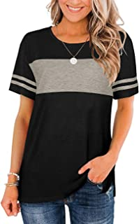 Bofell Womens Tshirts Short Sleeve Summer Tops Color Block Side Split Shirts Crew Neck