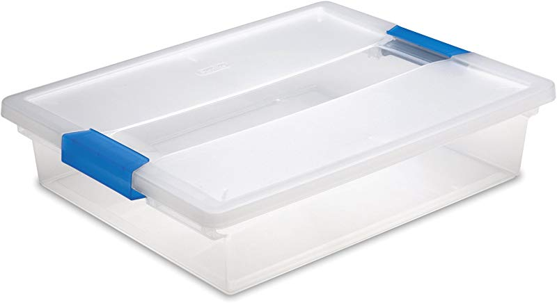 Sterilite 19638606 Large Clip Box Clear With Blue Aquarium Latches 6 Pack