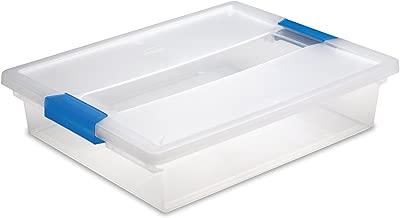 Sterilite 19638606 Large Clip Box, Clear with Blue Aquarium Latches, 6-Pack