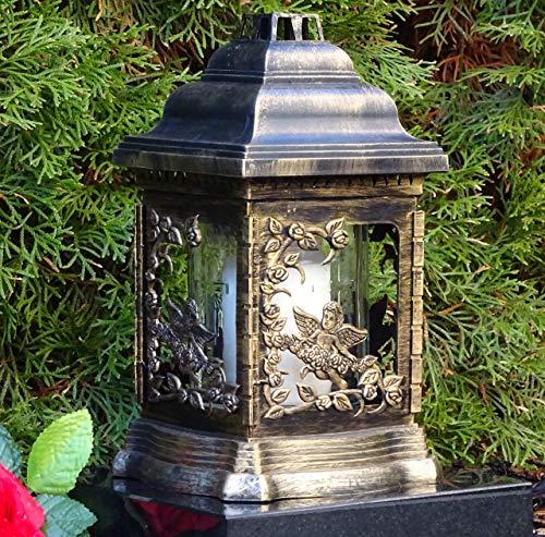 ♥ Grablaterne Grablampe Engel Rosen Bronze mit Grabkerze Grabschmuck Grableuchte Grablicht Laterne Kerze Lampe