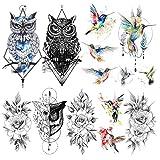 LAROI 9 Blätter Wasserfarbe Kolibri Gefälschte temporäre Tattoos Für Erwachsene