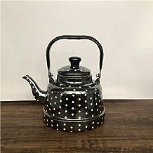 Emaille waterkoker melk theepot, glazuurketel, kleine spiegel glazuur, wit glazuur, oude klokketel, inductiekookplaat, gas...