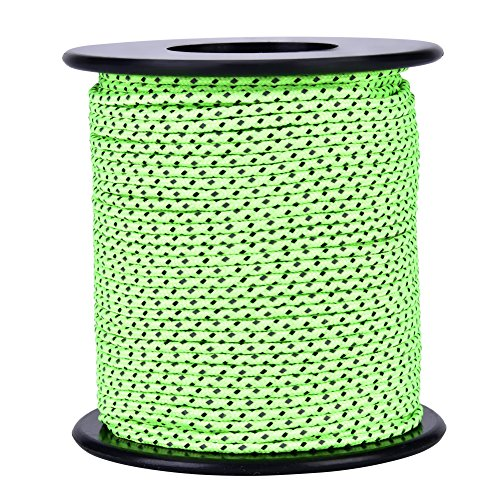 Tent Rope, 50m / 164ft Green Polyester Awning Built-in Reflective Silk Guyline Rope Tent Guy Line Cord Paracord Clothesline for Outdoor Camping