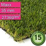 Kunstrasen Rasenteppich Maxx für Garten - Florhöhe 35 mm - Gewicht ca. 2736 g/m² - UV-Garantie 12 Jahre (DIN 53387) - 4,00 m x 1,00 m   Rollrasen   Kunststoffrasen