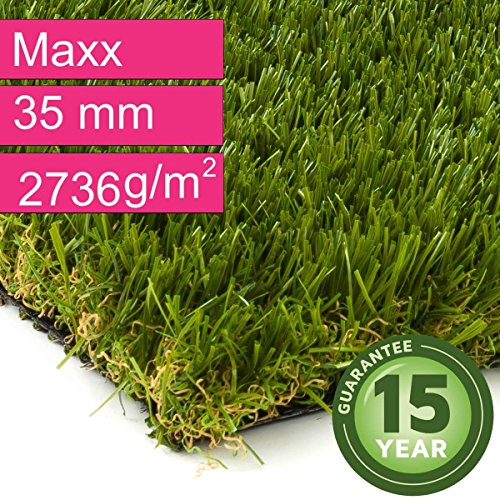 Kunstrasen Rasenteppich Maxx für Garten - Florhöhe 35 mm - Gewicht ca. 2736 g/m² - UV-Garantie 12 Jahre (DIN 53387) - 4,00 m x 1,00 m | Rollrasen | Kunststoffrasen