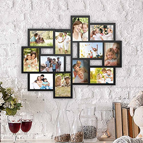 Lavish Home 80-Coll-1 Collage Picture 12 Aberturas para Colgar en la Pared de 4x6, múltiples Marcos de Fotos para decoración Personalizada, Color Negro