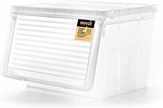 HOUZE MS-2351-CLEAR Stackable Sliding Lid Drawer, Transparent,Large