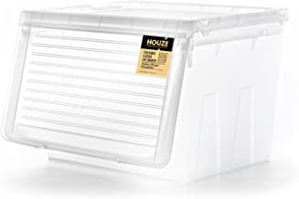 HOUZE MS-2351-CLEAR Stackable Sliding Lid Drawer, Transparent,Large