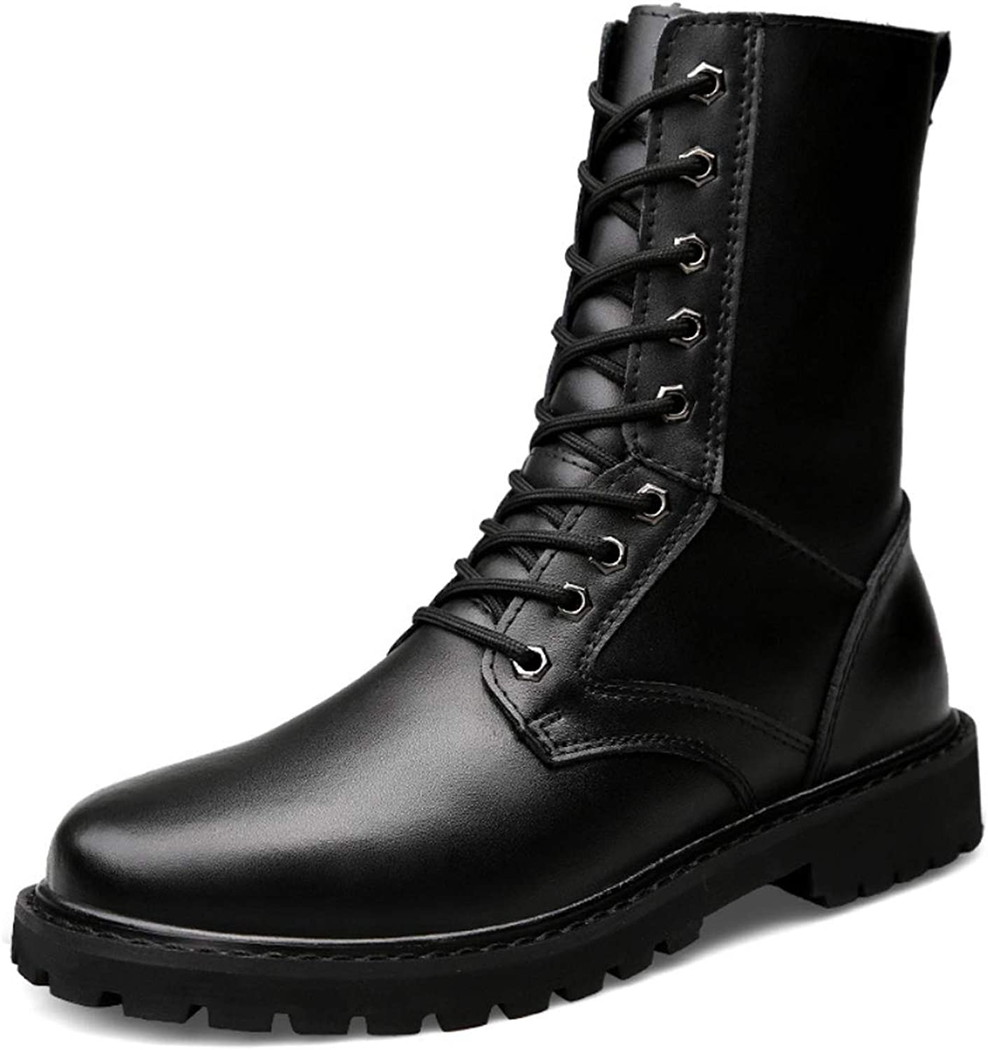 DANDANJIE Men's Boots Martin Boots High-top Motorcycle Boots Casual Military Boots Riding Boots Tooling Boots Non-Slip Waterproof for Fall Winter