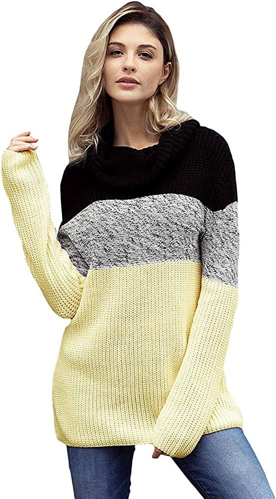 Colorblock Draped Collar Cheap bargain Sweater for Loose Pullover-b Women Special price for a limited time S
