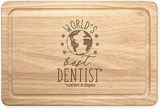 World's Mejor Dentista Rectangular Tabla para Picar de Madera