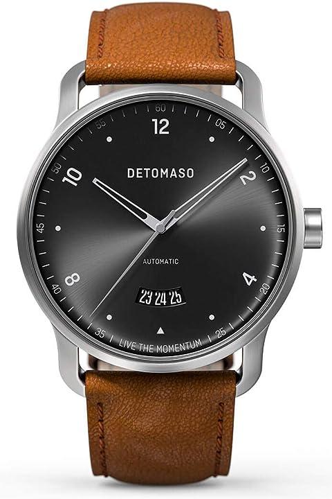 Detomaso viaggio automatic silver black orologio da polso da uomo, analogico, al quarzo, cinturino in pelle D06-06-01