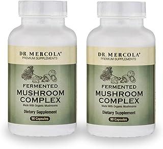 Dr. Mercola Fermented Mushroom Complex - 90 Capsules - 2 Bottles - Immune System Antioxidant Boost - 7 Mycelium Species In...