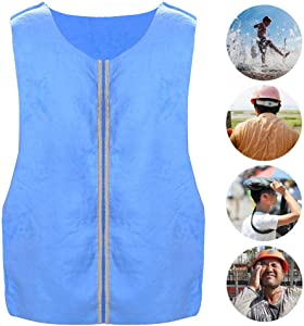 blue--net Summer Cooling Vest, Outdoor Sports Cooling Ice Vest for Men and Women, ICY Cooling Vest for Fishing,Cycling,Running,Cooking