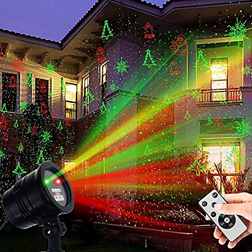 Christmas Projector Lights Outdoor, Waterproof Christmas Laser Lights Landscape Spotlight Decorative Stage Lights with Red and Green Xmas Patterns for Party Garden Patio Wall Ceiling Floor