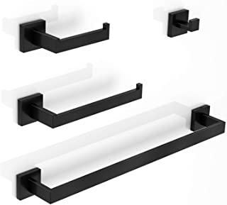 LuckIn 4pcs Bath Towel Bar Set Stainless Steel, Matte Black Bathroom Hardware Set Wall Mounted, 24 Inch Towel Rod Accessor...