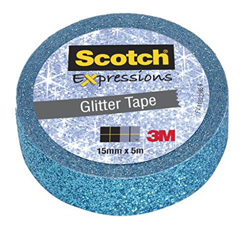 Scotch Expressions Nastro Decorativo 3M, Blu Glitter